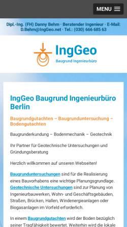 Vorschau der mobilen Webseite www.inggeo.net, Behm, Danny