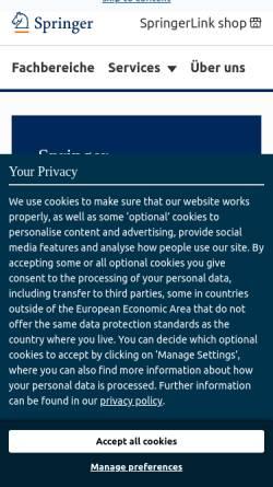 Vorschau der mobilen Webseite www.springer.com, Springer-Verlag Heidelberg