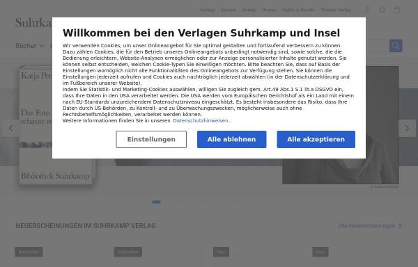 Vorschau von www.suhrkamp.de, Suhrkamp Verlag GmbH und Co. KG