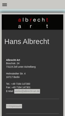 Vorschau der mobilen Webseite www.albrecht-art.com, Albrecht, Hans
