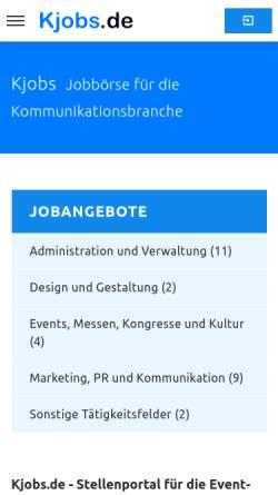 Vorschau der mobilen Webseite www.kjobs.de, kjobs.de - istis GbR