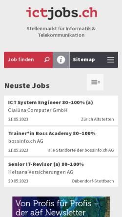 Vorschau der mobilen Webseite ictjobs.ch, Medienjobs.ch - dpi Publishing Service AG