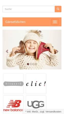 Vorschau der mobilen Webseite www.schuhe-schuhe.de, Gänsefüßchen