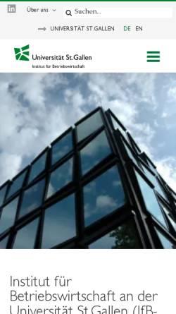 Vorschau der mobilen Webseite www.ifb.unisg.ch, Institut für Betriebswirtschaft - Management-Institut der Universität St.Gallen