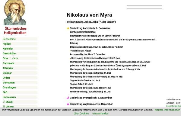 Vorschau von www.heiligenlexikon.de, Nikolaus von Myra