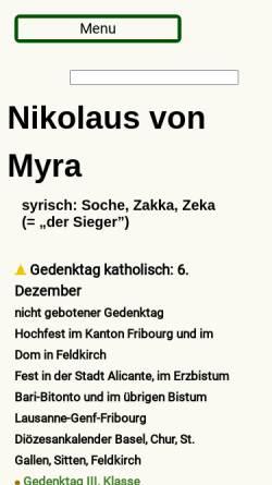 Vorschau der mobilen Webseite www.heiligenlexikon.de, Nikolaus von Myra