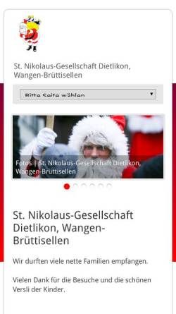 Vorschau der mobilen Webseite www.samichlaus-dietlikon.ch, Sankt-Nikolaus-Gesellschaft Dietlikon Wangen Brüttisellen
