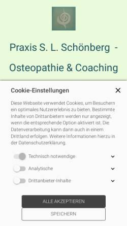 Vorschau der mobilen Webseite www.osteopathie-schoenberg.de, Sabine L. Schönberg