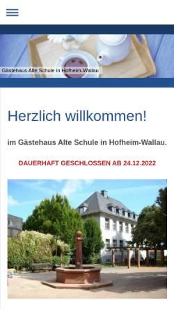 Vorschau der mobilen Webseite www.alteschule-hofheim.de, Gasthof Alte Schule