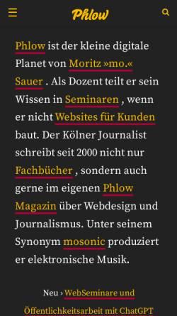 Vorschau der mobilen Webseite phlow.net, Phlow - Magazin für Musik und Netzkultur