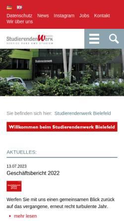 Vorschau der mobilen Webseite www.studentenwerkbielefeld.de, Studentenwerk Bielefeld