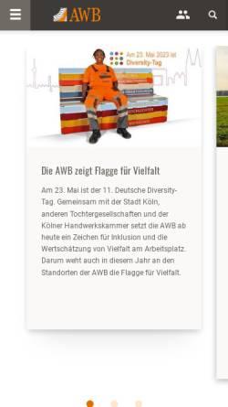 Vorschau der mobilen Webseite www.awbkoeln.de, AWB Abfallwirtschaftsbetriebe Köln GmbH & Co. KG