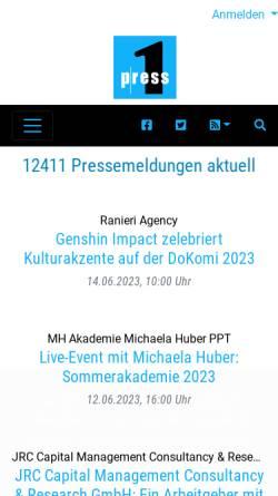 Vorschau der mobilen Webseite www.press1.de, Press1