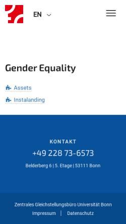 Vorschau der mobilen Webseite www.gleichstellung.uni-bonn.de, Center of Excellence - Women and Science
