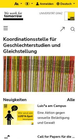 Vorschau der mobilen Webseite koordination-gender.uni-graz.at, Koordinationsstelle für Frauen- und Geschlechterforschung der Karl-Franzens-Universität Gr