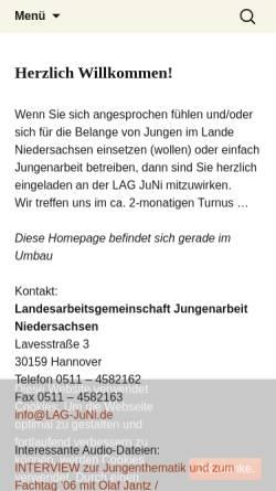 Vorschau der mobilen Webseite www.lag-juni.de, Landesarbeitsgemeinschaft Jungenarbeit Niedersachsen
