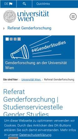Vorschau der mobilen Webseite gender.univie.ac.at, Projektzentrum Frauen-und Geschlechterforschung