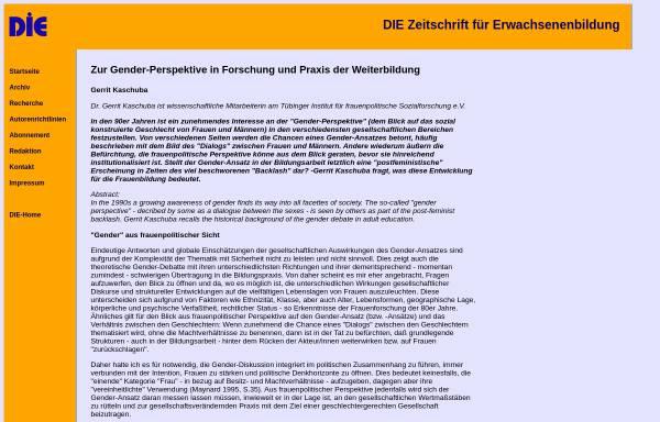 Vorschau von www.die-frankfurt.de, Zur Gender-Perspektive