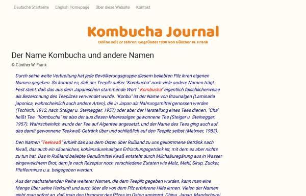 Vorschau von www.kombu.de, Etymologie des Namens Kombucha