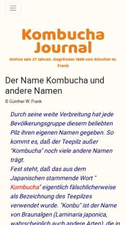 Vorschau der mobilen Webseite www.kombu.de, Etymologie des Namens Kombucha