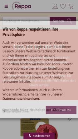 Vorschau der mobilen Webseite www.reppa.de, Münzversandhaus Reppa