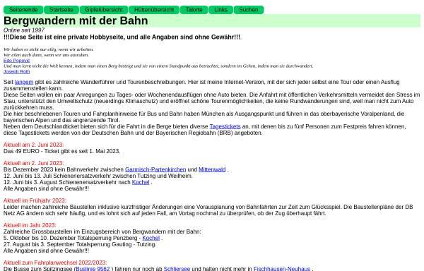 Vorschau von www.digiberg.de, Bergwandern mit der Bahn
