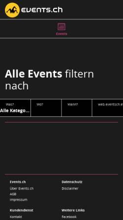 Vorschau der mobilen Webseite www.events.ch, events.ch