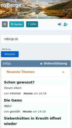 Vorschau der mobilen Webseite www.roberge.de, Rosenheimer Internet-Bergführer
