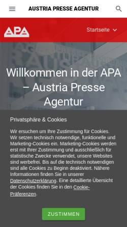 Vorschau der mobilen Webseite www.apa.at, APA Austria Presse Agentur