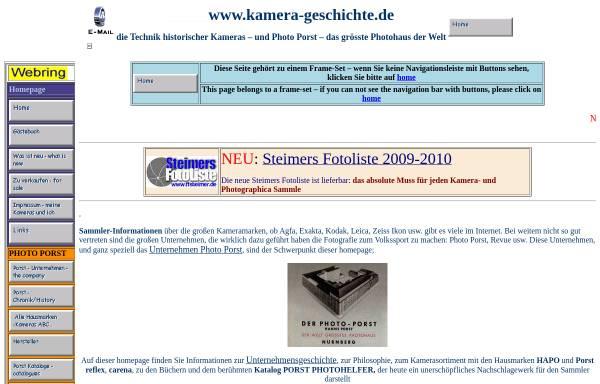 Vorschau von www.kamera-geschichte.de, Kamera Geschichte und Photo Porst