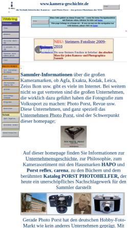Vorschau der mobilen Webseite www.kamera-geschichte.de, Kamera Geschichte und Photo Porst