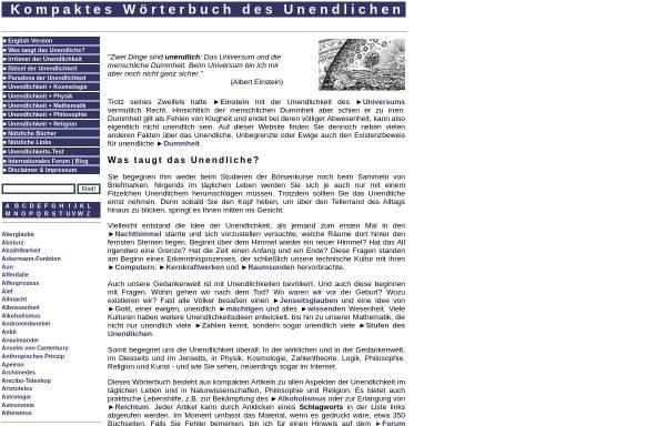 Vorschau von www.unendliches.net, Kompaktes Lexikon des Unendlichen