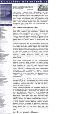Vorschau der mobilen Webseite www.unendliches.net, Kompaktes Lexikon des Unendlichen