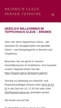 Vorschau der mobilen Webseite www.teppich-gleue.de, Heinrich Gleue Perser-Teppiche & Co.
