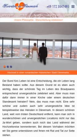Vorschau der mobilen Webseite www.einfach-heiraten.eu, Einfach heiraten in Dänemark