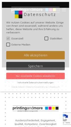 Vorschau der mobilen Webseite printingandmore.de, Printing and More, Stephan Pöpping
