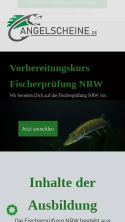 Vorschau der mobilen Webseite www.angelscheine.de, Angelschein - Fischerprüfungsvorbereitung