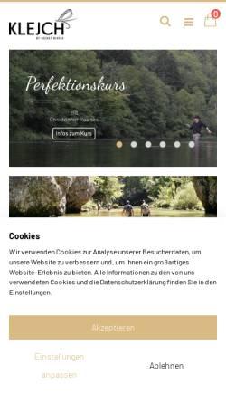 Vorschau der mobilen Webseite www.klejch.at, Klejch Fly Fishing & Outdoor