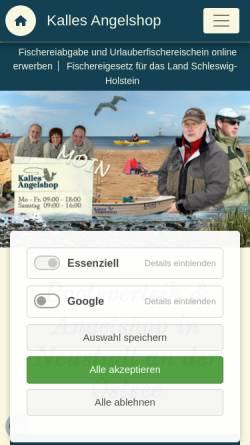 Vorschau der mobilen Webseite kallesangelshop.de, Kalles Angelshop, Karl-Heinz Rohde