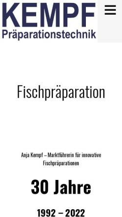 Vorschau der mobilen Webseite www.kempf-fische.de, Kempf Präparationstechnik