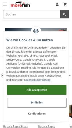 Vorschau der mobilen Webseite www.morefish.de, morefish - Angellockstoffe