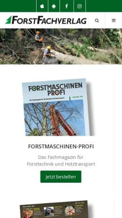 Vorschau der mobilen Webseite www.forstfachverlag.de, Forstfachverlag