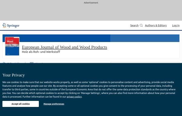 Vorschau von www.springer.com, Holz als Roh- und Werkstoff