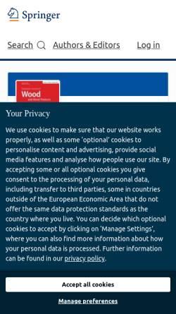 Vorschau der mobilen Webseite www.springer.com, Holz als Roh- und Werkstoff