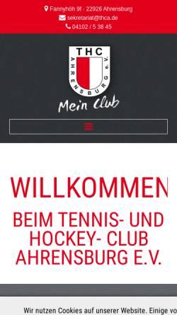 Vorschau der mobilen Webseite www.thca.de, Tennis- und Hockey-Club Ahrensburg e.V.