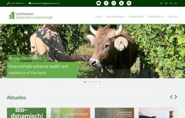 Vorschau von www.sektion-landwirtschaft.org, Sektion für Landwirtschaft der Freien Hochschule für Geisteswissenschaft am Goetheanum