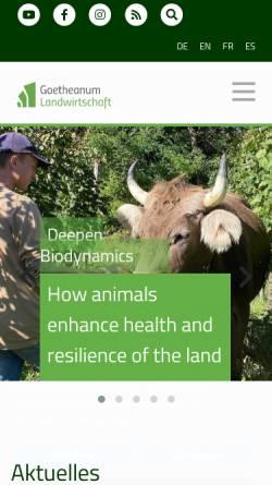 Vorschau der mobilen Webseite www.sektion-landwirtschaft.org, Sektion für Landwirtschaft der Freien Hochschule für Geisteswissenschaft am Goetheanum