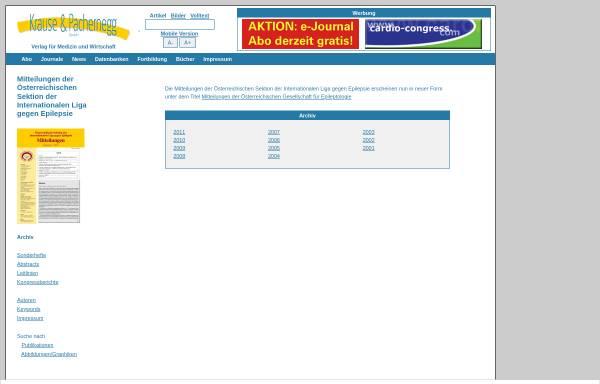 Vorschau von www.kup.at, Mitteilungen der Österreichischen Sektion der Internationalen Liga gegen Epilepsie