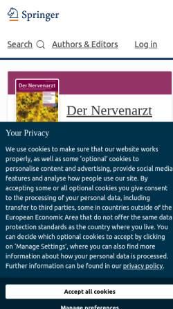 Vorschau der mobilen Webseite www.springer.com, Der Nervenarzt
