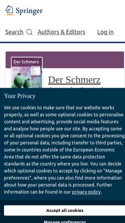 Vorschau der mobilen Webseite www.springer.com, Der Schmerz